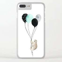 Sloth with Balloons Clear iPhone Case