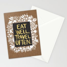 Eat Well, Travel Often (on Kraft) Stationery Cards