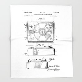 Turntable Patent Throw Blanket