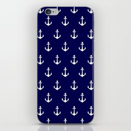 Maritime Nautical Blue and White Anchor Pattern iPhone Skin