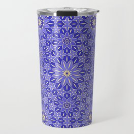 Rings of Flowers - Color: Royal Blue & Gold Travel Mug