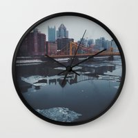 pittsburgh Wall Clocks featuring Pittsburgh, PA by Chase Hunter