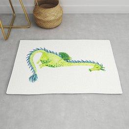 Lime Green Watercolor Dragon Rug