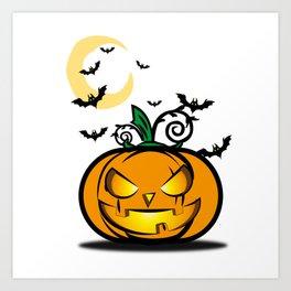 Halloween Pumpkin And Bats Fly In Moonlight Art Print