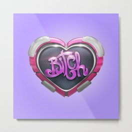 Techno Cyber Heart Bitch Metal Print