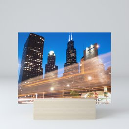 Willis Tower w/ blur Mini Art Print