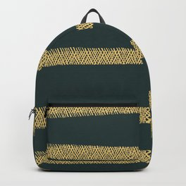 Hatch Marks of Lines in Yellow on Dark Green Blue Backpack