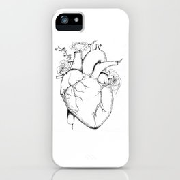 Black and White Anatomical Heart iPhone Case