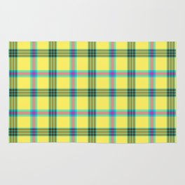 lemon love plaid with a dash of pink and blue Rug