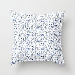 Blue Crabby Throw Pillow