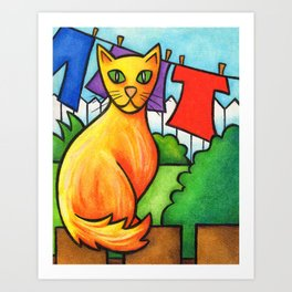Cat On Fence Art Print