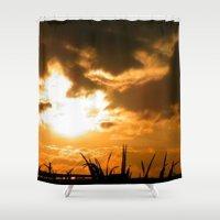 irish Shower Curtains featuring Irish Sunset by American Artist Bobby B