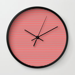 Thin Berry Red and White Rustic Horizontal Sailor Stripes Wall Clock