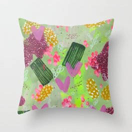 Calming Green Modern Art, colorful Abstract Shapes Acrylic Painting Throw Pillow