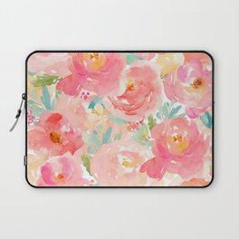 Preppy Pink Peonies Laptop Sleeve