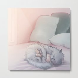 Kitty Sleeping with Bear Friend Metal Print