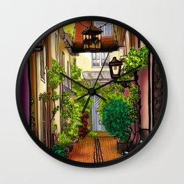 Quiet Green Corner Art in Karlsruhe Germany Wall Clock