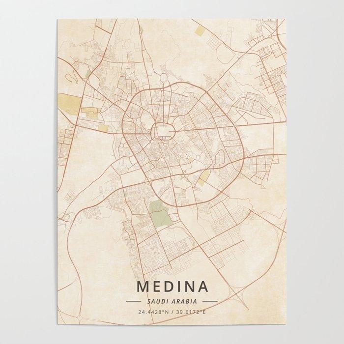 Medina, Saudi Arabia - Vintage Map Poster by designermapart