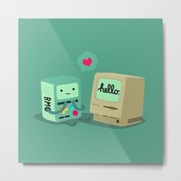 BMO & Macintosh Metal Print