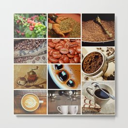 Coffee Espresso Collage - Cafe or Kitchen Decor Metal Print