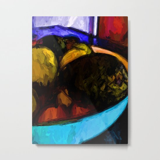 Avocado with Apples and Mandarins in a Bowl Metal Print