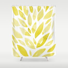 Watercolor floral petals - yellow Shower Curtain