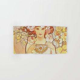 Rose by Alphonse Mucha 1897 // Vintage Girl with Red Hair Floral Love Design Hand & Bath Towel