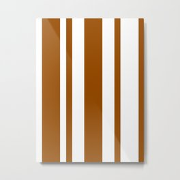 Mixed Vertical Stripes - White and Brown Metal Print