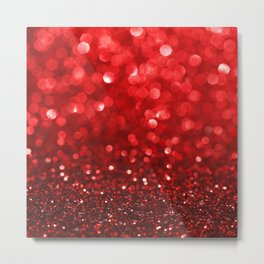 Ruby Red Disco Glitter & Sparkles Metal Print