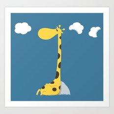 The greedy giraffe Art Print