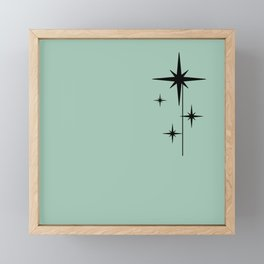 1950s Atomic Age Retro Starburst in Mint Green and Black 2 Framed Mini Art Print