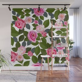Pink roses and leaves hand drawn pattern Wall Mural