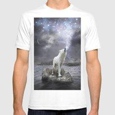 Stars Lie Hidden (Wolf Galaxy) Mens Fitted Tee MEDIUM White