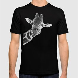 Silly Giraffe B&W // Wild Animal Portrait Cute Zoo Safari Madagascar Wildlife Nursery Ideas Decor T-shirt