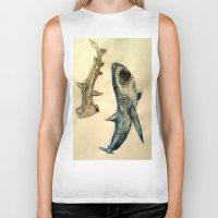 sharks Biker Tanks featuring Sharks by Jen Hallbrown