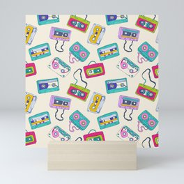 Vintage Cassette Tape Pattern Mini Art Print