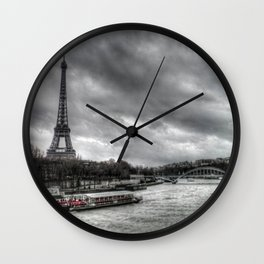 The Eiffel Tower and the Seine - Paris cityscape - hdr Wall Clock
