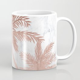 Tropical simple rose gold palm trees white marble Coffee Mug