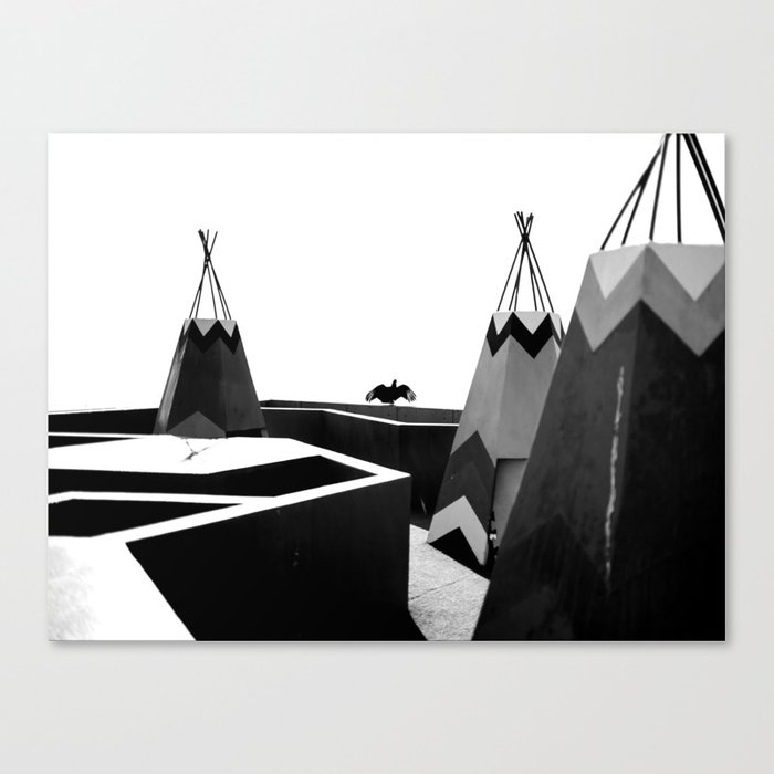 Cabins in BW Canvas Print