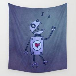 Happy Cartoon Singing Robot Wall Tapestry