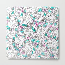 Pink and Teal Abstract Watercolor and Geometric Metal Print