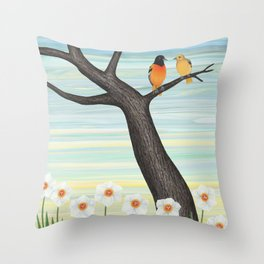 Orioles and daffodils Throw Pillow