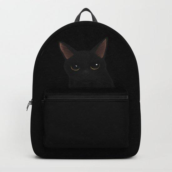 Black cat in black Backpack