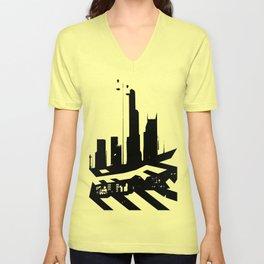 City Scape in Black and White Unisex V-Neck