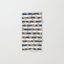 Nautical modern navy blue white stripes blush beige pineapple Hand & Bath Towel