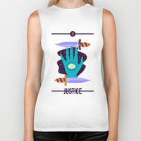 justice league Biker Tanks featuring JUSTICE by badOdds