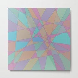 Shattered Turquoise & Pink Metal Print