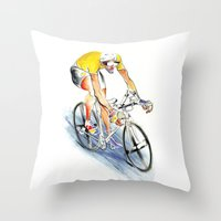 cafe racer Throw Pillows featuring Racer by drawgood