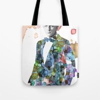 james bond Tote Bags featuring Bond, James Bond by NKlein Design