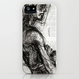 Waiting - Charcoal on Newspaper Figure Drawing iPhone Case